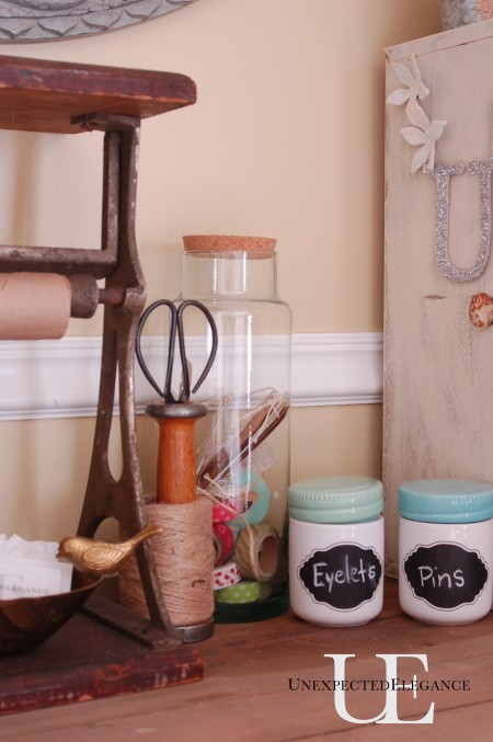 Craft supply containers at Unexpected Elegance