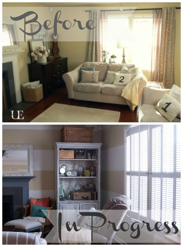 Before and In Progress of Living Room
