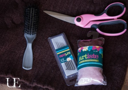 Supplies for makeing easy Fingerless Mittens