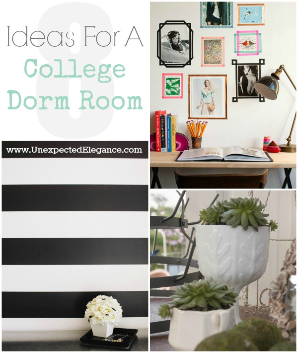 8 Ideas for a College Dorm Room...Here 8 things that can help a dorm room feel bigger and cozier!!  (Decor, organization, space saving)