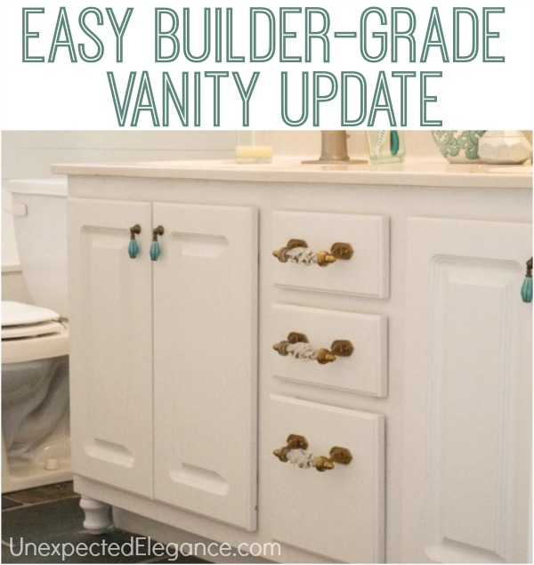 Bathroom Vanity Makeover how to transform a builder grade bathroom vanity for less