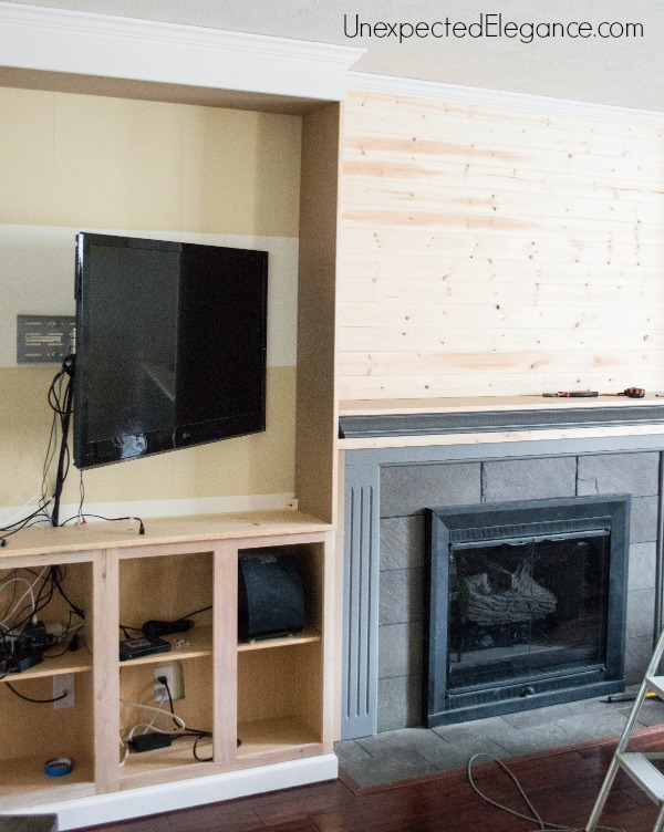 My big finish diy fireplace built ins unexpected for Tongue and groove fireplace