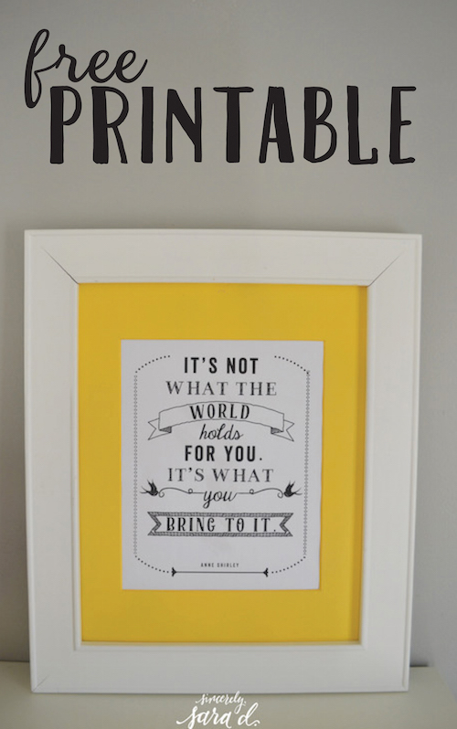 Need some new artwork?  Get a FREE Anne of Green Gables quote printable!