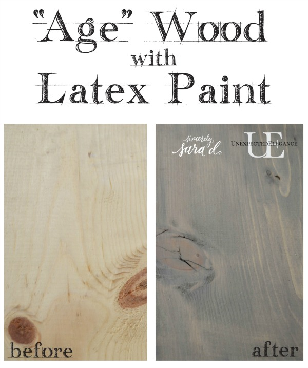 Do you love the look of weathered wood? Check out how to achieve a weathered look using latex paint!! It's super easy and inexpensive.