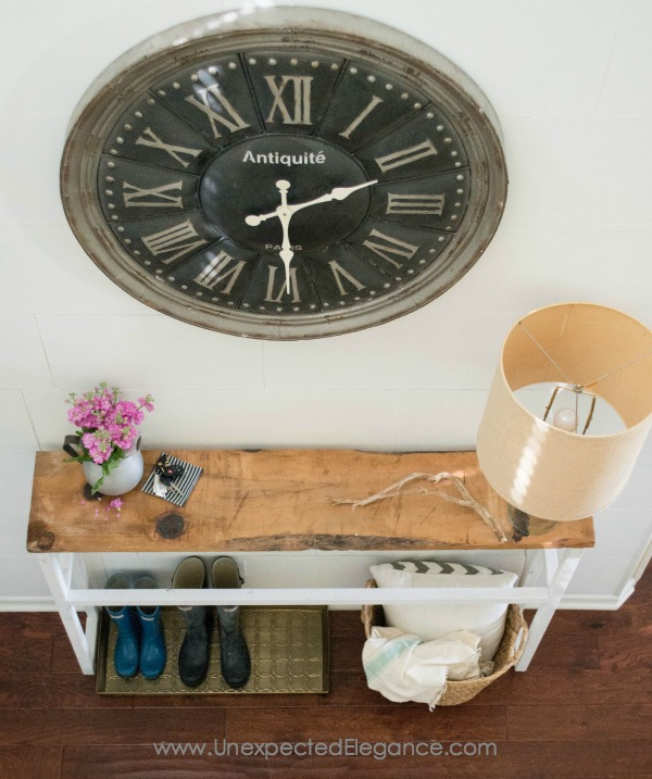 Check out this awesome DIY entry table!!  It's the perfect size for a tight space.