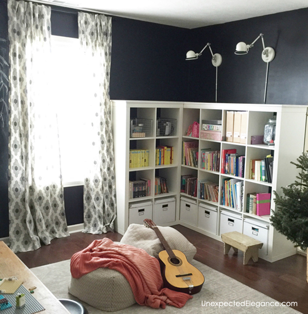 Do you have a corner of a room that needs some storage? Check out this EASY corner cabinet IKEA hack, to turn inexpensive shelving into a corner storage unit.