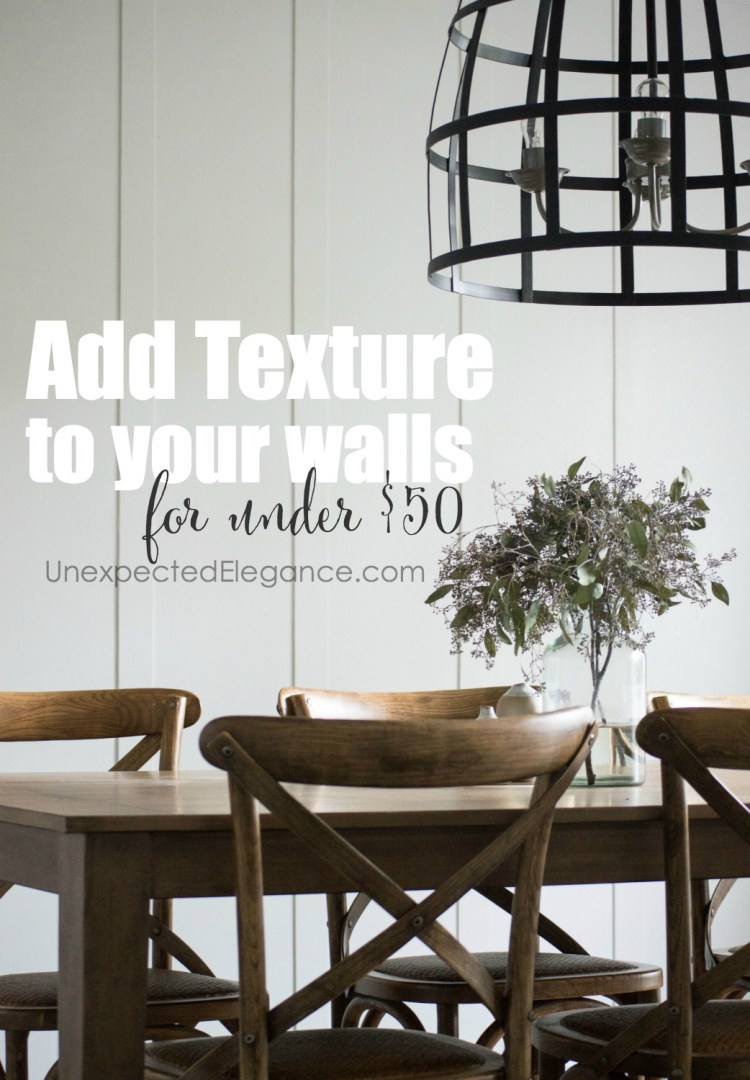 Find out how you can add wall texture for less than $50!! This is the perfect design element to help add interest to any space.