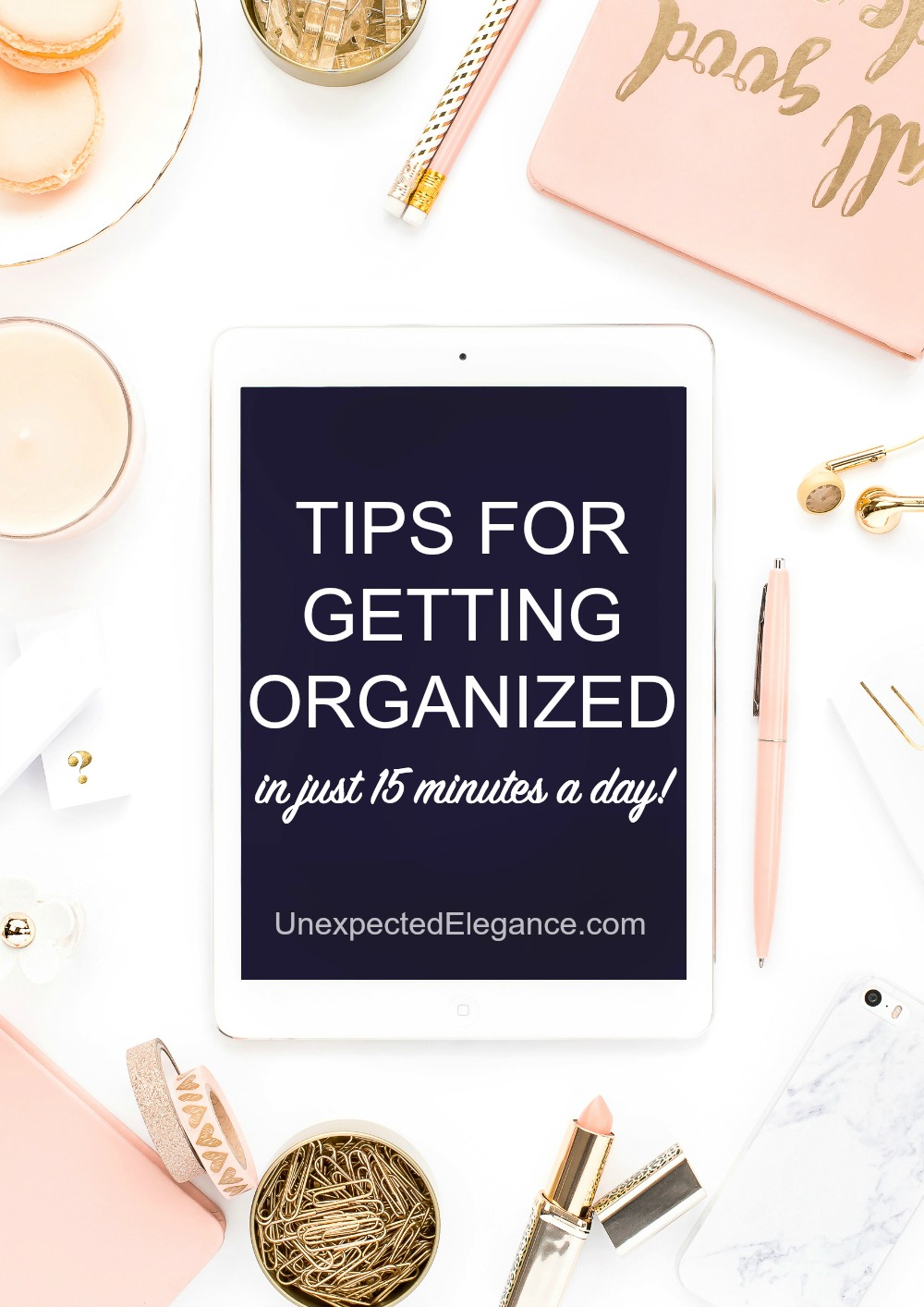 Get tips for getting organized this year and also get a FREE ebook for doing it in just 15 minutes a day!!