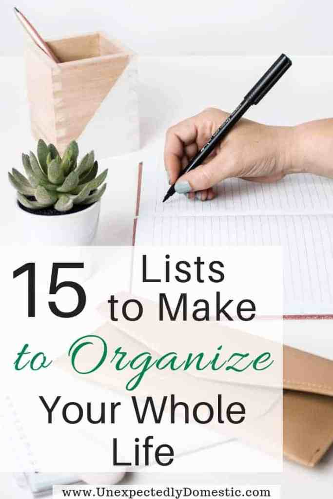 Which lists to make to organize your life in a notebook. These are fun lists to make when you're bored or feeling down or for fun. Stay organized today!