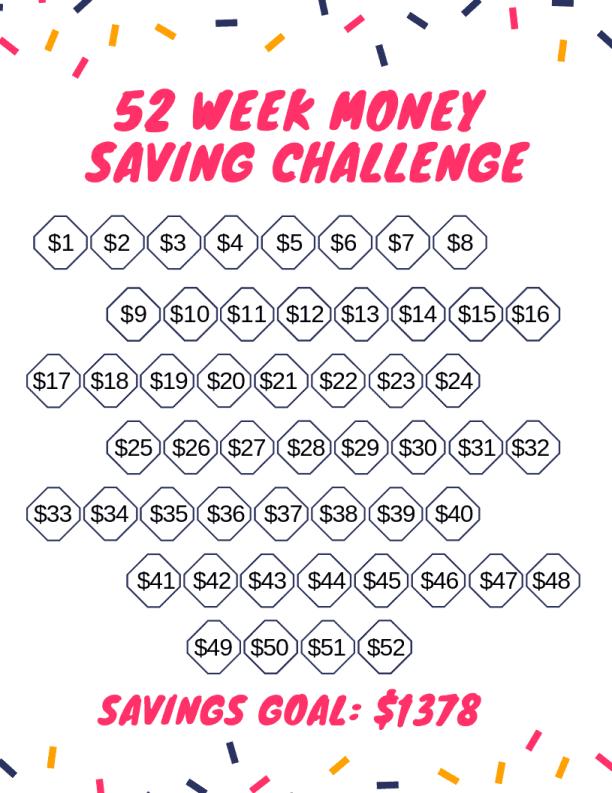 random 52 week money saving challenge