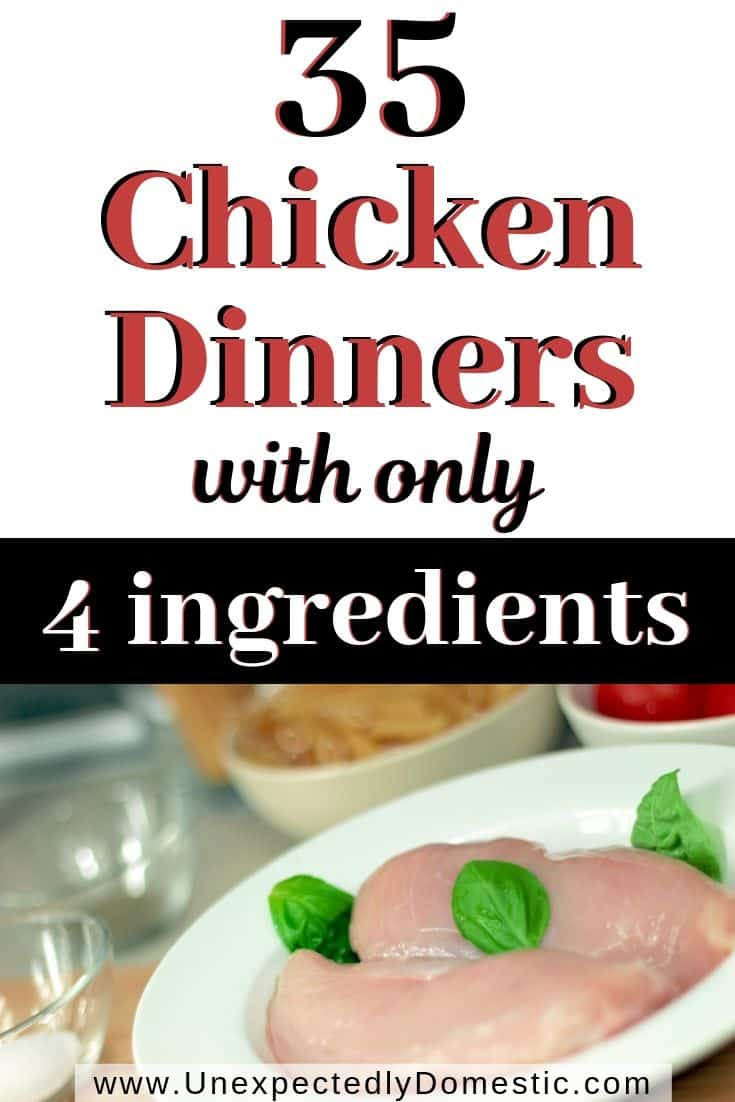 Try these easy yummy chicken recipes with few ingredients! Here's 35 four ingredient easy chicken dinner casseroles and meals for families.