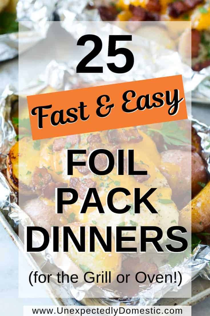 Delicious foil pack dinners! Easy foil packet meals perfect for the BBQ grill, oven, or camping. Healthy shrimp or chicken recipes and beef and sausage too!