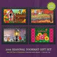 Seasonal Doormat Gift Set - 4 Doormat Inserts and Rubber Mat Tray