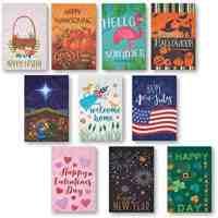 10-Pack Decorative Seasonal Holiday Flags