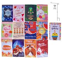 13 Decorative Seasonal Holiday Flags (with Bonus Birthday Flag & Flag Pole)