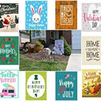 Retro Seasonal Outdoor Garden Flag (Set of 10)