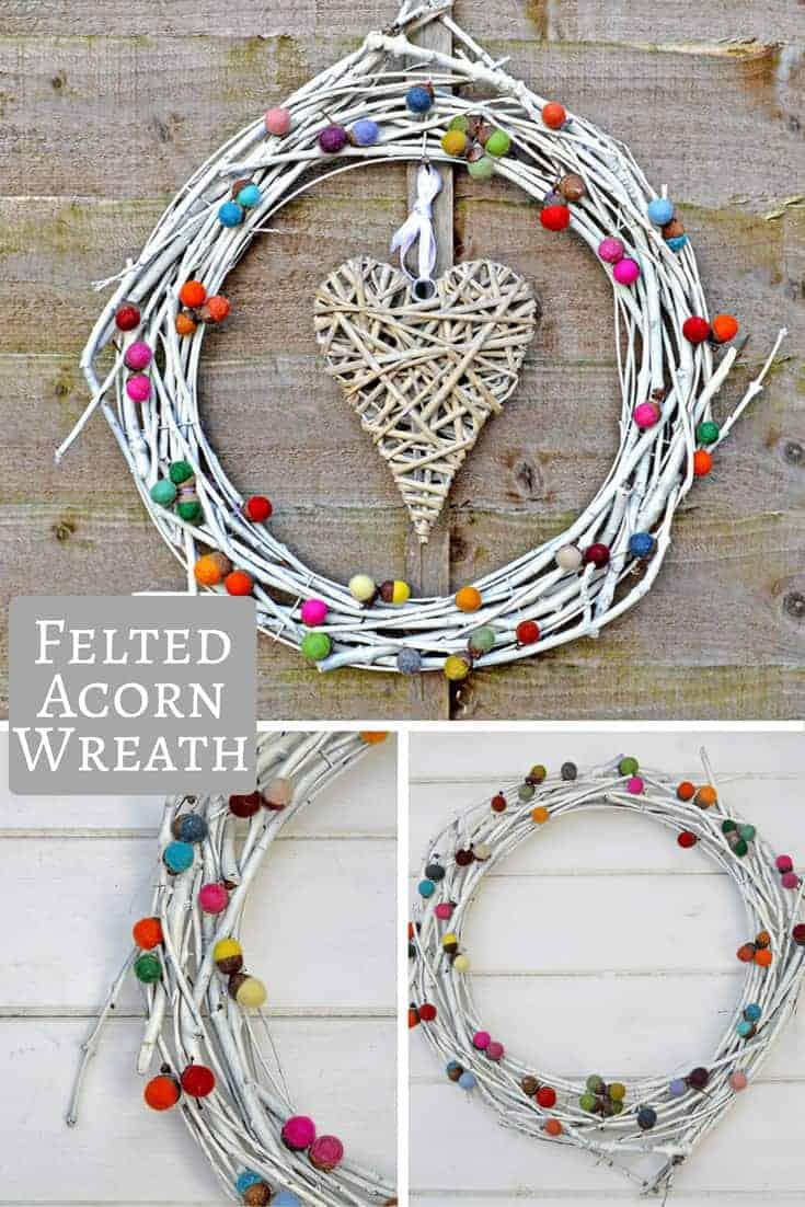 Colourful Felted Acorn Wreath