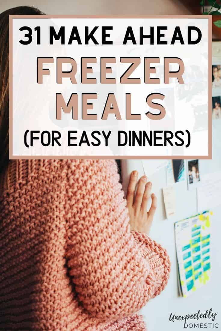 A month of cheap easy freezer meals! Fill your freezer with these healthy, homemade, make ahead dinners. Perfect when you're short on time and on a budget!