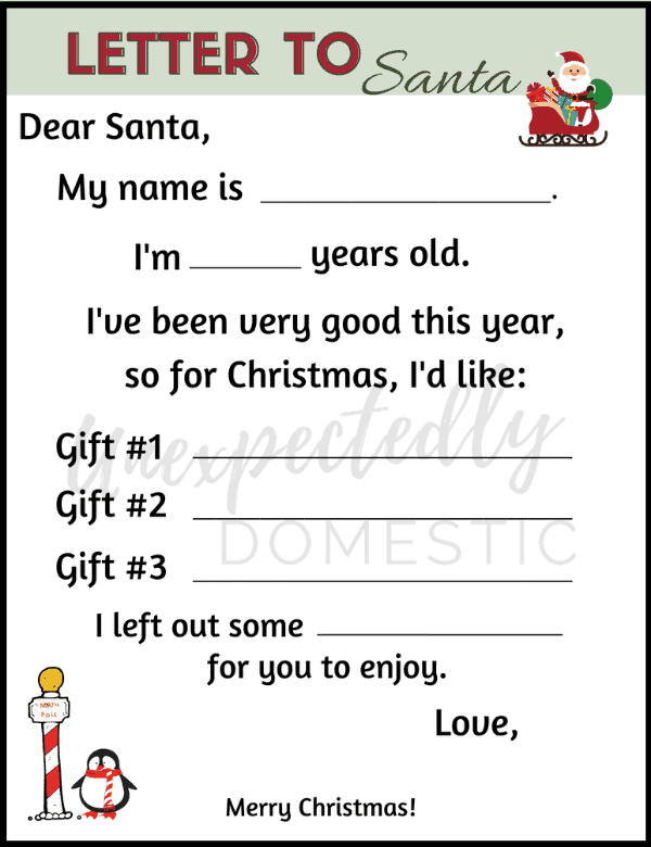 Free blank Santa letter template! Kids can fill out this cute printable letter to Santa. Leave it out on Christmas Eve or mail it to the North Pole!