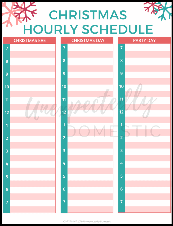 Free Christmas Day planner template! Plan out what you need to do each our on Christmas Eve, Christmas Day, or whenever you're hosting a holiday party!