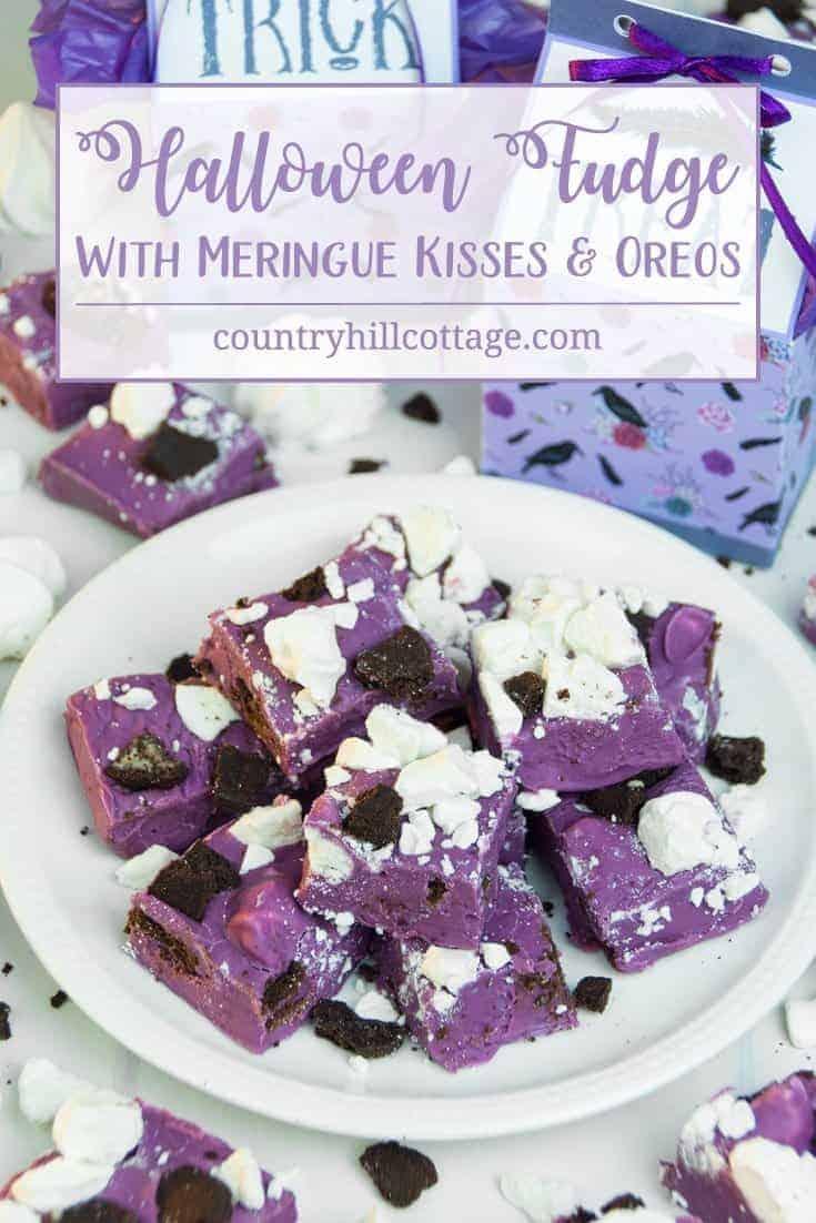 Halloween Fudge with Meringue Kisses and Oreos