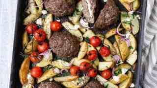 Greek Bifteki with Potatoes