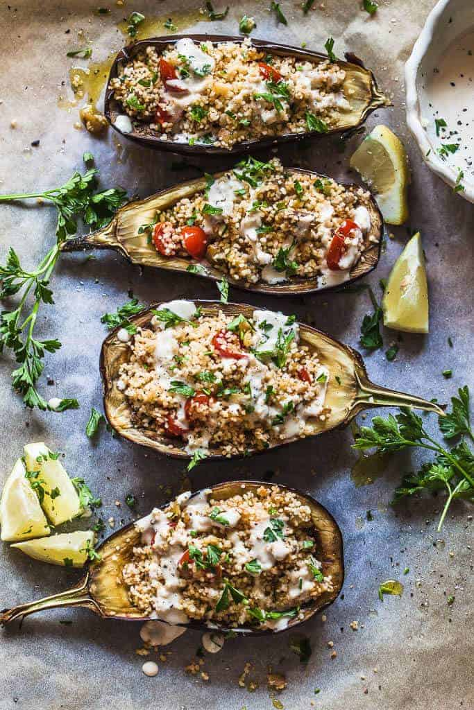 Couscous Stuffed Eggplant with Lemon Tahini Sauce