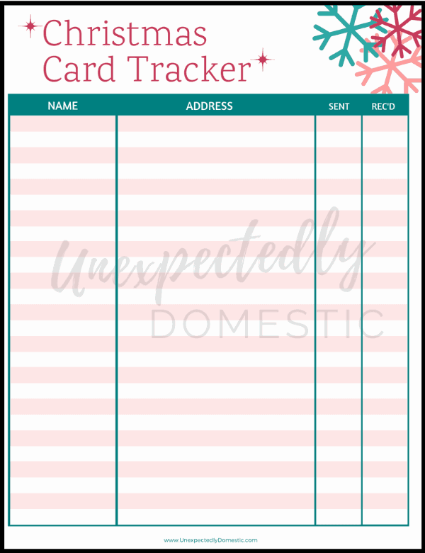 {Day 6} Christmas Card Tracker
