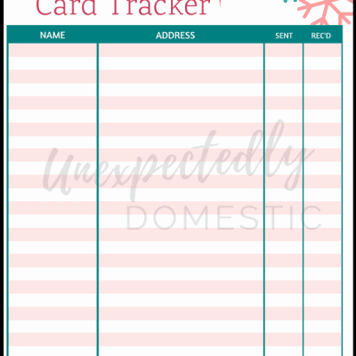 Christmas Card Tracker – Free Holiday Printables!