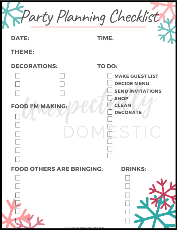 Free printable party planning checklist! Super helpful party planning worksheet template to easily plan all the details of your holiday party!