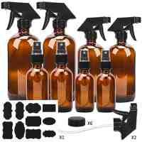 Amber Glass Spray Bottle Set