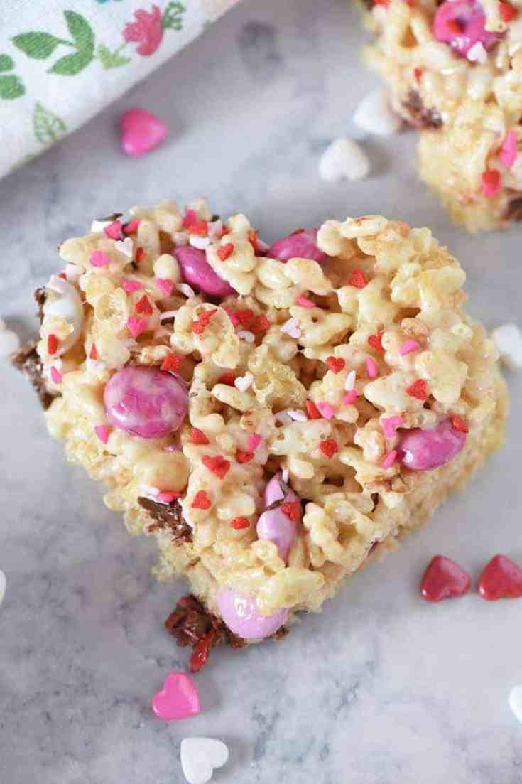 M&M's Heart Shaped Valentine Rice Krispie Treats