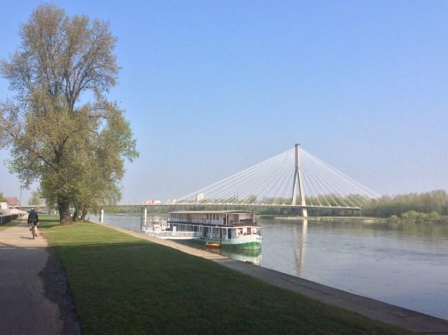 A photo of a bridge over the River Vistula - Warsaw, Poland