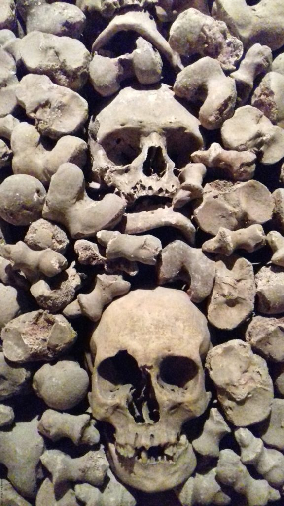 A photo of one of the walls in the Brno Ossuary - Brno, Czechia