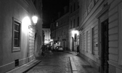 A photo of Liliova Street, facing north - Prague, Czechia