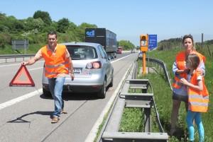 Notrufsäule an der Autobahn. Foto: Allianz.
