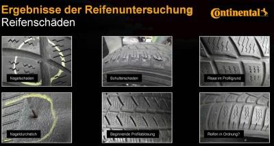 Ergebnisse der Reifenuntersuchung: Reifenschäden. Infografik von Continental.