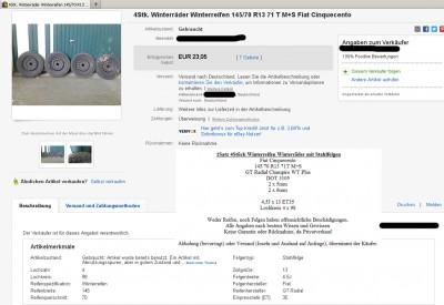 """Das Profil sieht ja fast noch in Ordnung aus, aber die Reifen sind 9 (!) Jahre alt: """"DOT 3105"""" steht für die 31. Kalenderwoche 2005. Screenshot von eBay."""