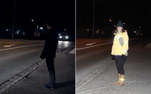 Helle Kleidung und Reflektoren (im Bild rechts) steigern die Sichtbarkeit von ungeschützten Verkehrsteilnehmern im Vergleich zu dunkel gekleideten Fußgängern (im Bild links). Foto: ARCD.