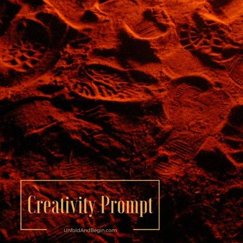 footprints in the sand creativity prompt on UnfoldAndBegin.com
