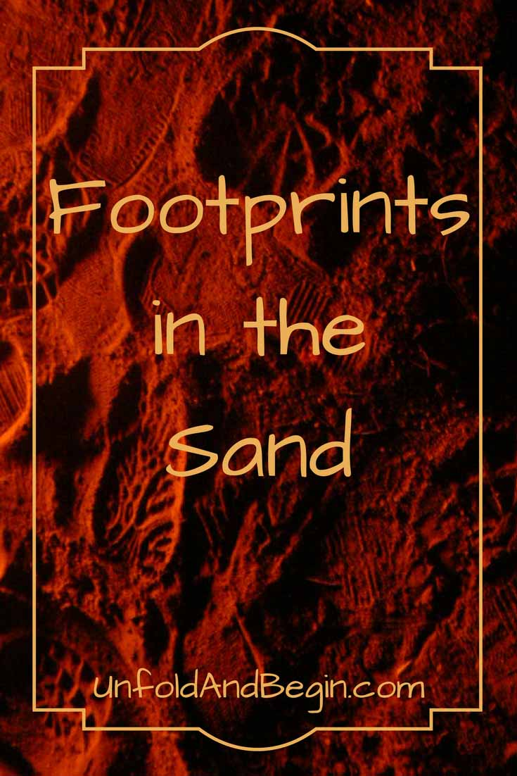 Footprints in the sand.  A picture prompt to inspire your creativity on UnfoldAndBegin.com