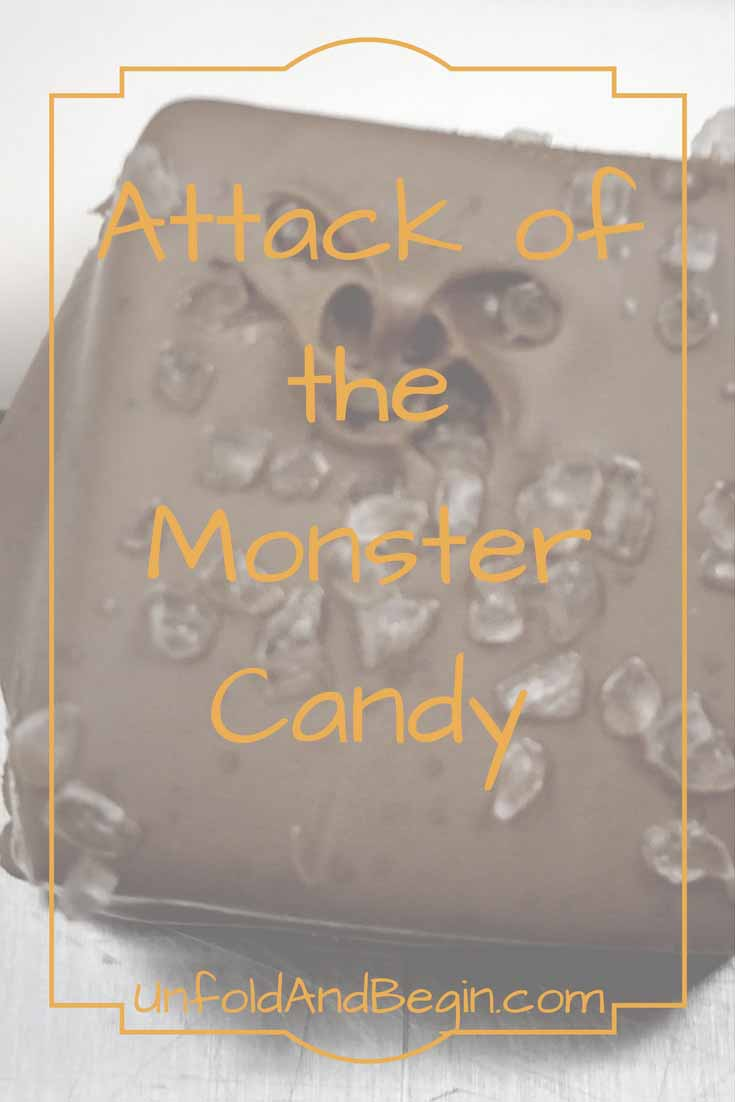 The attack of the monster candy awaits.  The candy that eats you, not the other way around?  Have fun with this creativity prompt on UnfoldAndBegin.com