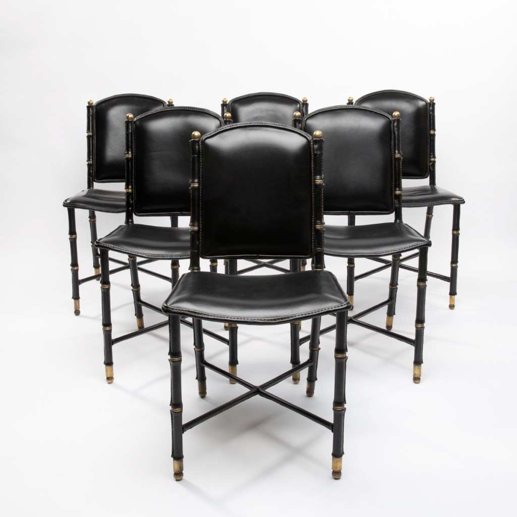 Set of 6 saddle stitched leather chairs by Jacques Adnet - img09