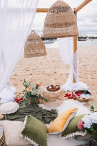 seaside picnic with arbour