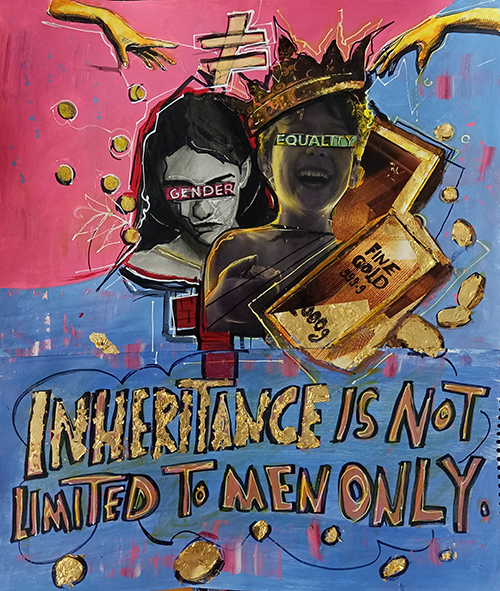 """Illustration shows a boy with a crown and a girl with a blindfold. Around them is gold and the text """"inheritance is not limited to men only."""""""