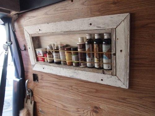 Spice rack on slider door