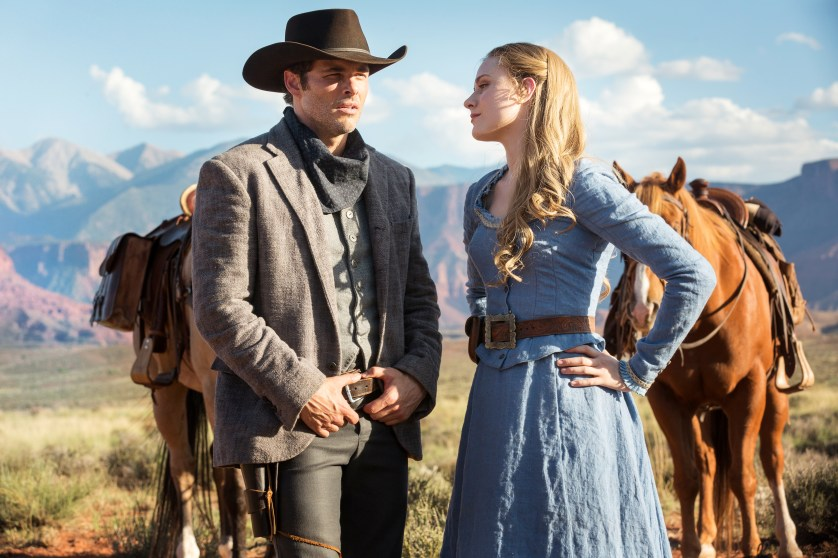 Dolores and Teddy (Portrayed by Evan Rachel Wood and James Marsden) share a moment in this thrilling drama.
