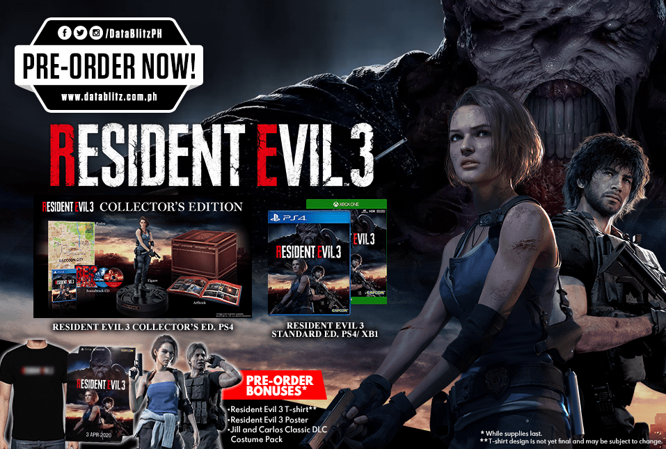 Resident Evil 3 Standard And Collectors Ed Now Available For