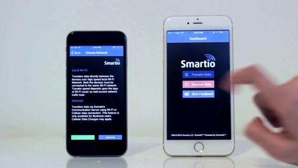 SmartIO te permite pasar tus contactos, imágenes, videos y mucho mas entre teléfonos de distintas plataformas