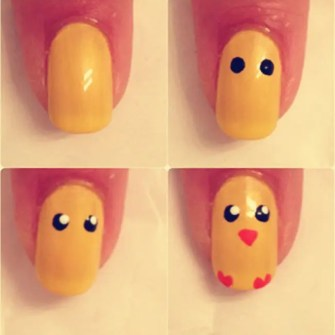 easter chick pattern nail art easter nail art tutorial easter nail ideas-f25537